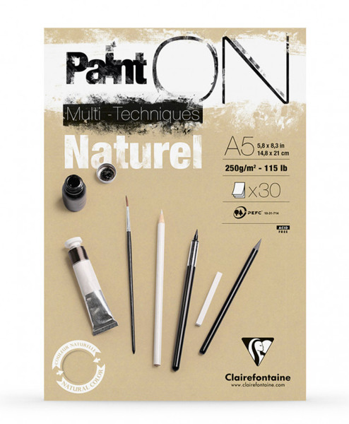 Blok Clairefontaine Paint On Natural, format A4, 30 ark. 250g